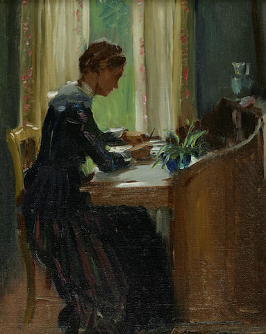 Edward Dufner (American, 1872-1957) By the Window, c. 1905 8 1/2 x 7 1/2in