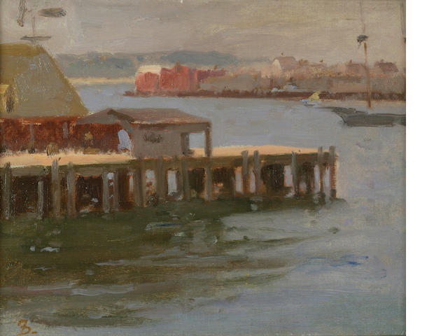 Frank Duveneck (American, 1848-1919) Fishing Pier - East Gloucester 8 1/2 x 10 1/2in