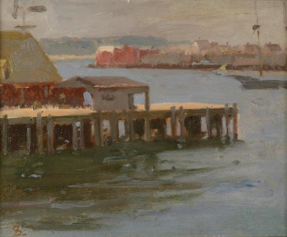 Frank Duveneck (American, 1848-1919) Fishing Pier - East Gloucester 8 1/2 x 10 1/2in