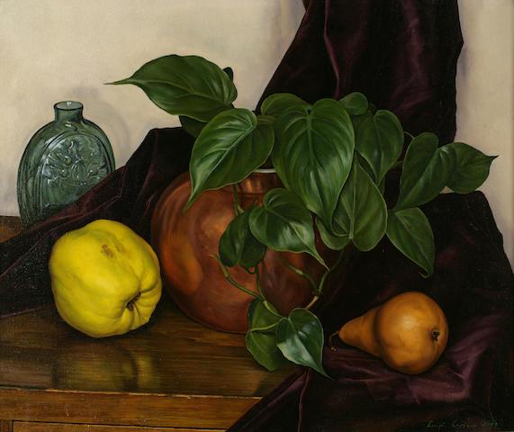 Luigi Lucioni (Italian/American, 1900-1988) Still Life, 1948 15 1/4 x 18 1/4in