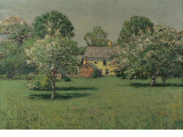 Edward Parker Hayden (American, 1858-1921) A Country Home in Spring 22 1/4 x 31 1/16in