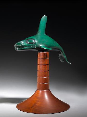 A Haida bronze and wood sculpture, Bill Reid