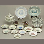 An assembled grouping of seventeen pieces of transfer printed ceramics with American scenes