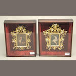 Two German porcelain plaques in Florentine frames within shadow boxes