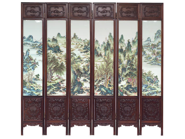A fine six panel hardwood floor screen inset with famille rose porcelain plaques Republic Period, Attributed to Wang Yeting (1884-1942)