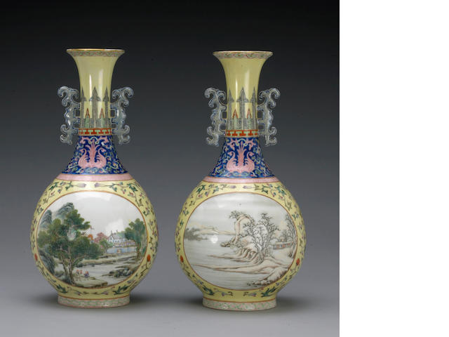 A pair of yellow ground porcelain vases with famille rose decoration Qianlong Marks, Republic Period