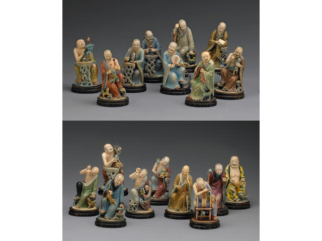 A fine and rare tinted ivory set of 'Eighteen Luohan' Republic Period