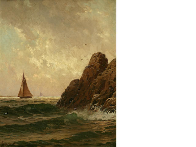 Alfred Thompson Bricher (American, 1837-1908) Sailboats off a Rocky Shore 18 x 14in