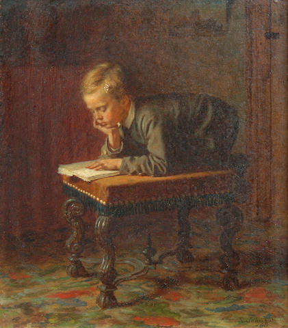 Eastman Johnson (American, 1824-1906) Reading Boy, 1863 10 1/4 x 9in