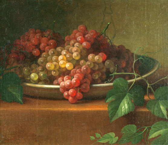 George Henry Hall (American, 1825-1913) Grapes in a Porcelain Bowl, 1867 12 3/8 x 14 1/4in
