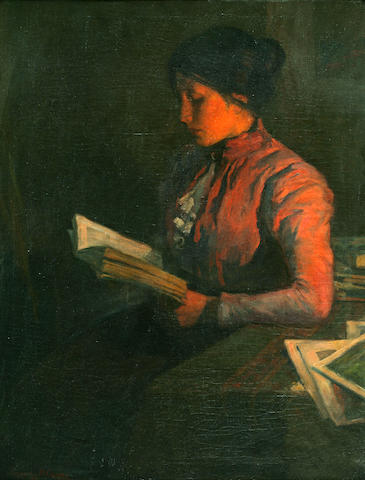 Augustus M. Gerdes (German, born after 1869-) Woman by Firelight, 1900 36 x 28in