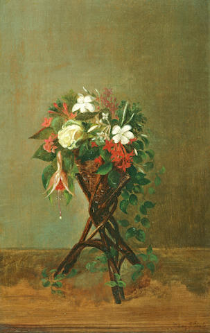 Mary Jane Peale (American, 1826-1902) Floral Still Life 14 1/4 x 9in