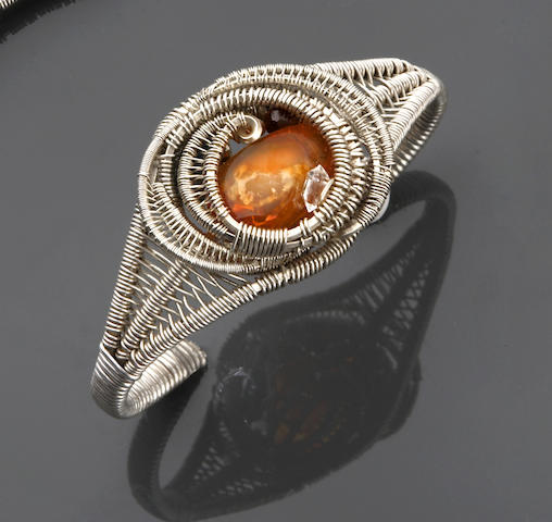 Wire-wrap Gem-set Silver Cuff Bracelet