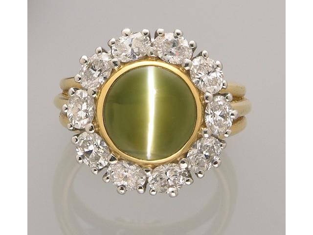Cat's Eye Chrysoberyl and Diamond Ring