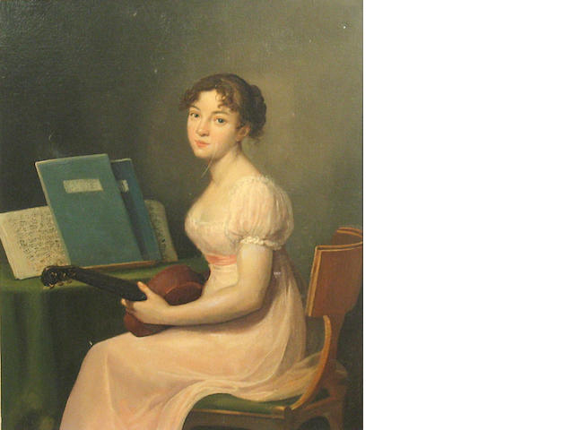 Jules (Julien-Leopold) Boilly (French, 1796-1874) A girl in a pink dress holding a guitar 16 x 13 1/4in (40.7 x 33.6cm)