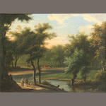 Dutch School, 18th Century An extensive wooded landscape with figures on a path 9 3/4 x 13in (24.7 x 33cm)