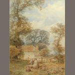 Attributed to Myles Birket Foster, Figures in a field by a house, wc/paper, 20 x 14 1/2in