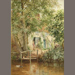 Harry Sutton Palmer, A cottage by a river, signed, wc/paper, 14 x 10in