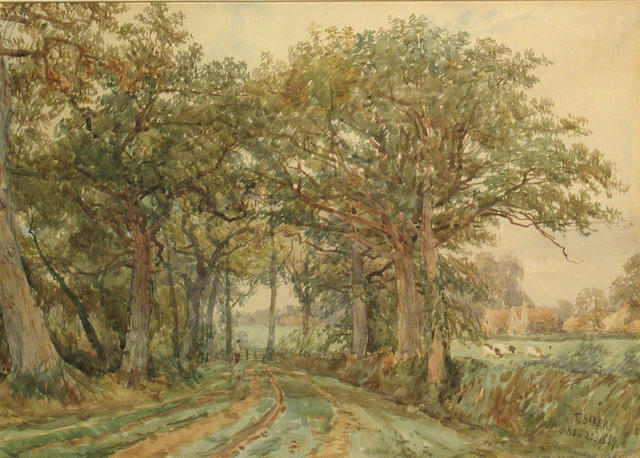 Thomas Baker of Leamington (British, 1809-1869) Near Guy's Cliffe, Warwickshire; Deer Park, Stoneleigh, Warwickshire (a pair) first, sight 10 1/4 x 14 1/4in; second, sight 9 1/2 x 13 1/2in