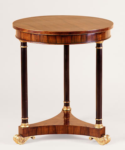 A pair of Empire style parcel gilt rosewood guéridons