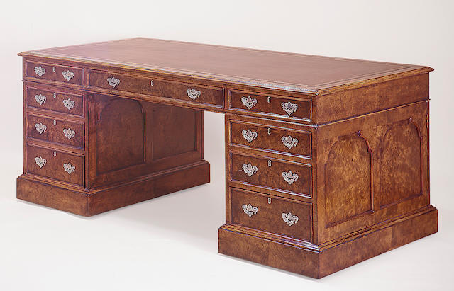 A George III style burl walnut partners desk