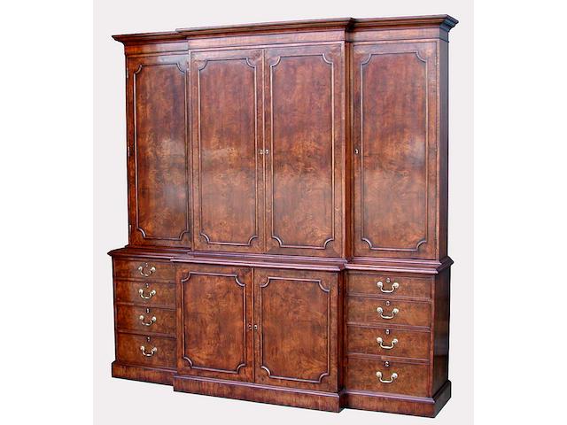 A George III style burl walnut breakfront cabinet