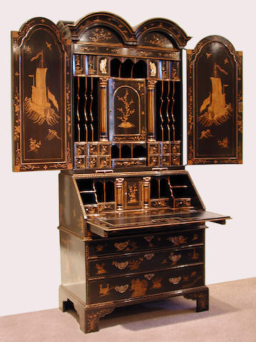 A good George I style parcel gilt lacquered secretary bookcase