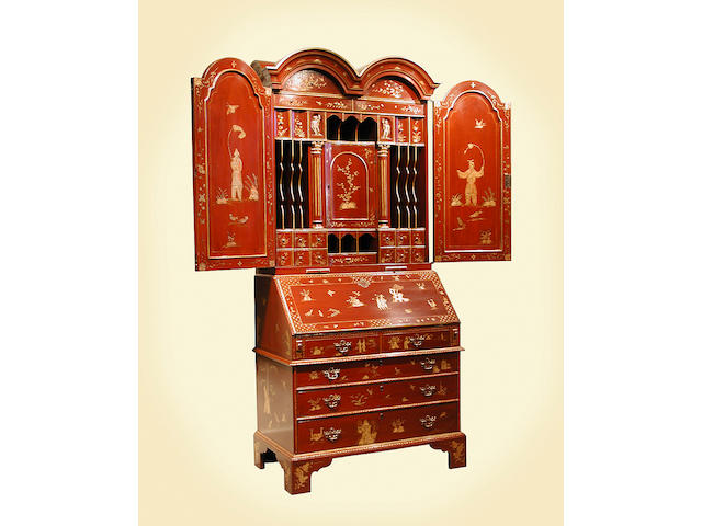 A George I style parcel gilt and lacquered secretary bookcase