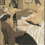 French School, (20th Century) Ladies in a boudoir 11 1/4 x 12 1/4in