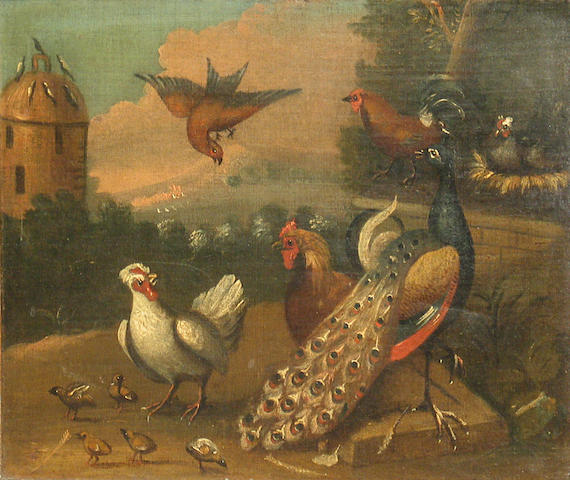 Manner of Marmaduke Craddock A group of birds including a peacock with a dovecote in the background 12 3/4 x 15 1/4in (32.3 x 40cm)