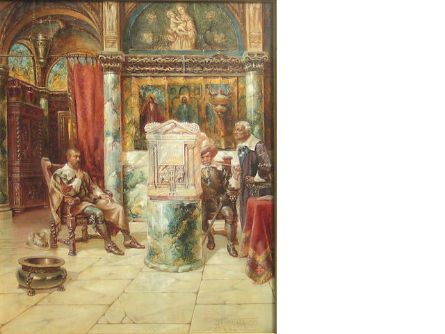 J.L. Kirkpatrick, The Antiquaries, Gentlemen in a church interior, o/canvasboard