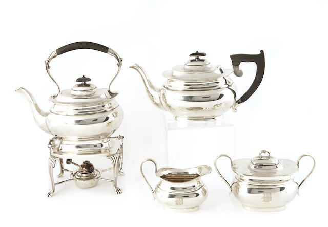 A George VI Silver Six Piece Tea and Coffee Set After the Anitque with Wooden Fittings by Vander