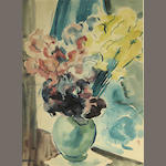 Dan Lutz (American, 1906-1978) Celadon Vase and Spring Bouquet 19 3/4 x 14 1/2in