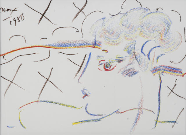 Peter Max (German/American, born 1937) Profile in Love, 1986 sight 11 1/4 x 15 1/2in