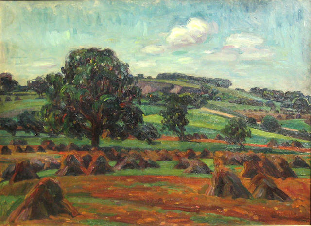 Louis Ritman (American, 1889-1963) Haystacks 24 x 32in