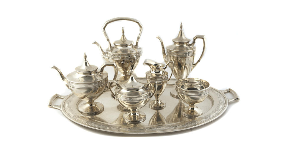 Sterling Madame d'Arblay Six Piece Tea and Coffee Set with Matching Tray by Meriden Britannia Co.