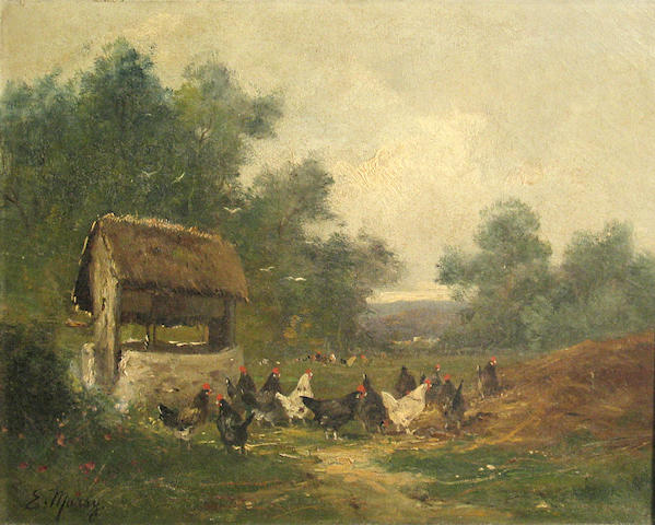 E. Marsy Chickens by a well 15 x 18in