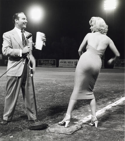 A Frank Worth photograph of Marilyn Monroe and Ralph Edwards at the 1952 Hollywood  Entertainers Baseball game