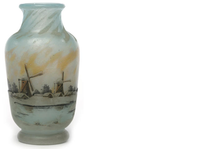 A Daum Nancy enameled cameo glass Winter Landscape miniature vase