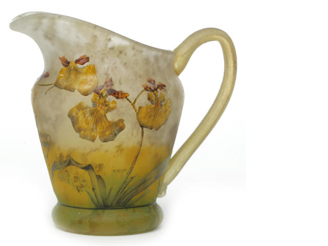 A Daum Nancy enameled cameo glass pitcher