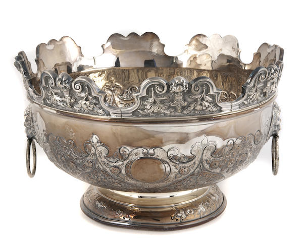 English Plated Monteith with Chased Decoration