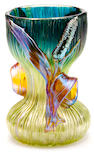 A Loetz applied iridescent glass Cattail vase