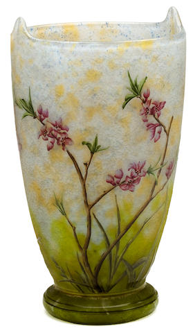 A Daum Nancy enameled cameo glass vase