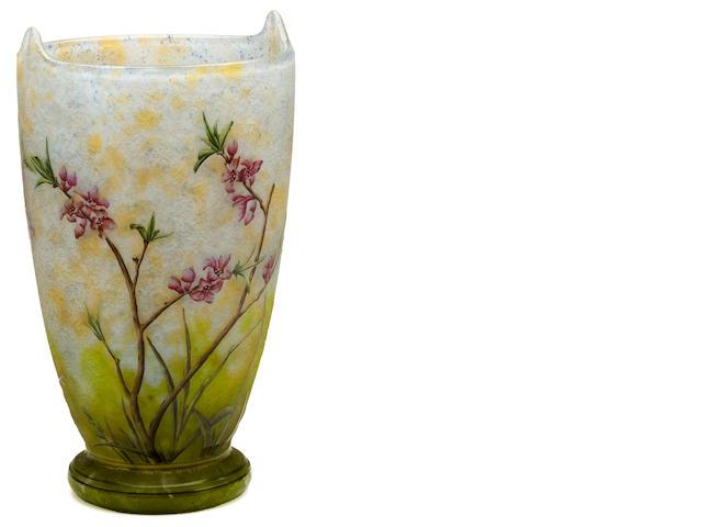 A Daum Nancy enameled cameo glass vase