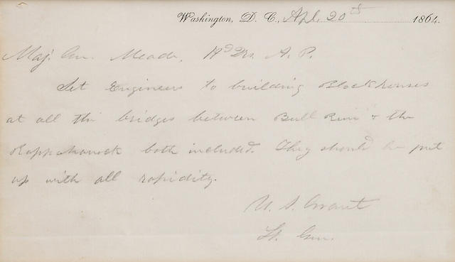 Grant, U.S. ALS, 1p, April 20, 1864 to General Meade.