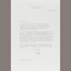 Nixon, Richard.  Typed Letter Signed, 1 p, 4to, New York City, February 22, 1985, to Lawrence Spivak, regarding a recently published book on Vietnam.