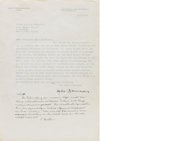 Einstein, Albert.  Autograph Note Signed at lower margin of Typed Letter Signed of Wolf Dieter Zimmerman, 1 p, 4to, n.p., September 24, 1954.  Einstein quotation regarding nuclear proliferation.