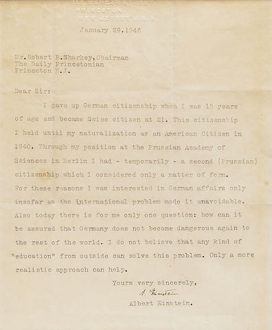 Einstein, Albert.  Typed Letter Signed, 1 p, 4to, Princeton, January 29, 1945, to Robert Sharkey, re: his interest in the fate of Germany, framed.