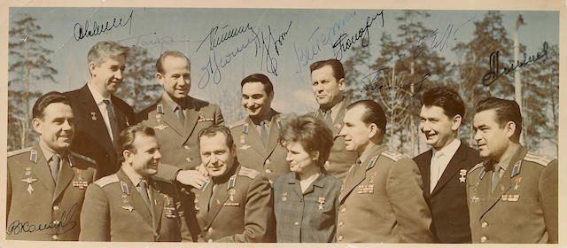 Cosmonauts (Russian, 1960s) Signed Photograph of the first eleven Soviet cosmonauts, April 21,1965,