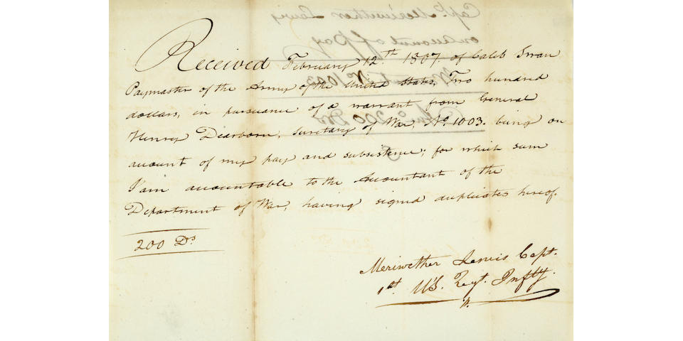 LEWIS, MERIWETHER. Document Signed, 1807.